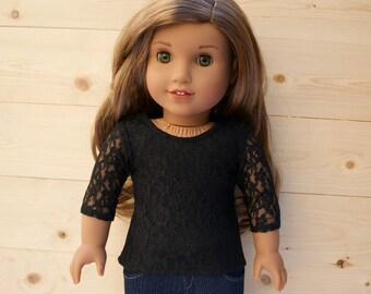 18 inch doll clothes AG doll clothes Black Lace Top made to fit like American Girl doll clothes
