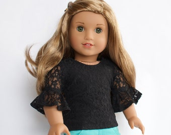 18 inch doll clothes AG doll clothes Black Lace Bell Sleeve Top made to fit like American Girl doll clothes