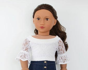 63058eb2c95 18 inch doll clothes - White Lace Bell Sleeve Crop Top