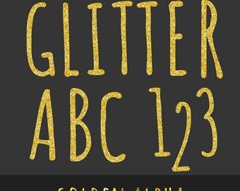 60% OFF Gold Glitter Alpha - Golden Glitter Alphabet - Scrapbooking Alpha - Sparkling Alphabet - Gold Glitter