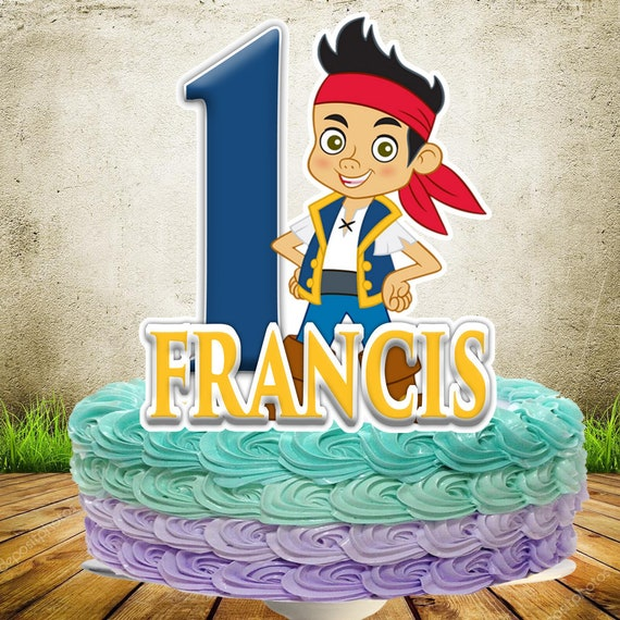 Awesome Jake And The Neverland Pirate Cake Topper Personalized Etsy Funny Birthday Cards Online Inifodamsfinfo