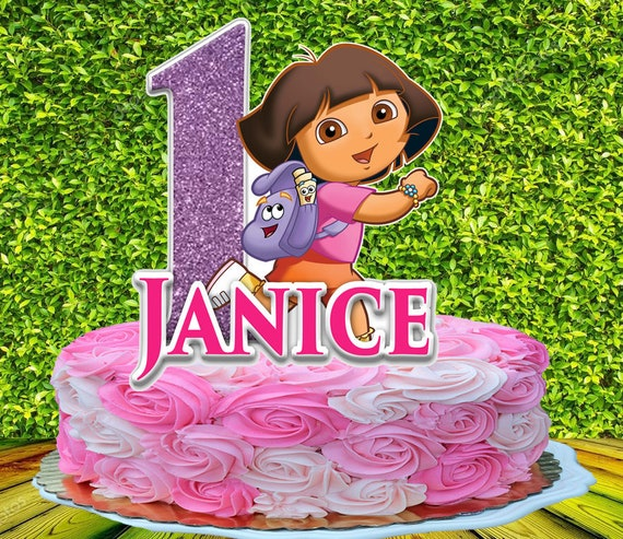 Swell Dora The Explorer Cake Topper Personalized Etsy Personalised Birthday Cards Veneteletsinfo
