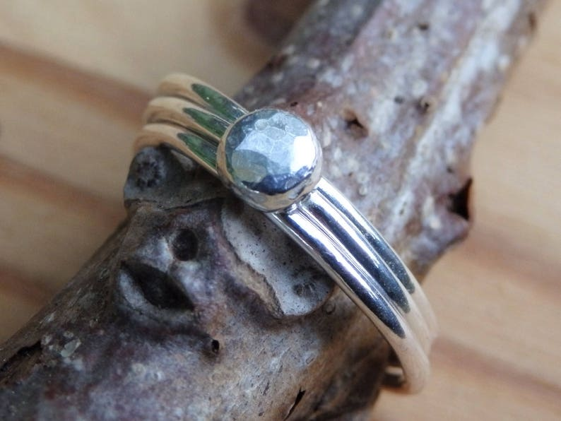 Single or Set Custom Size Stackable Rings Sterling Silver Stacking Ring with Hammered Faceted Nugget