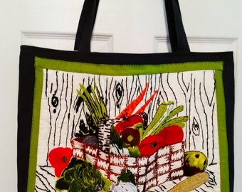 Embroidered Farmer's Market Canvas Tote