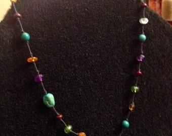 Semi-precious Stones on Cotton or Silk