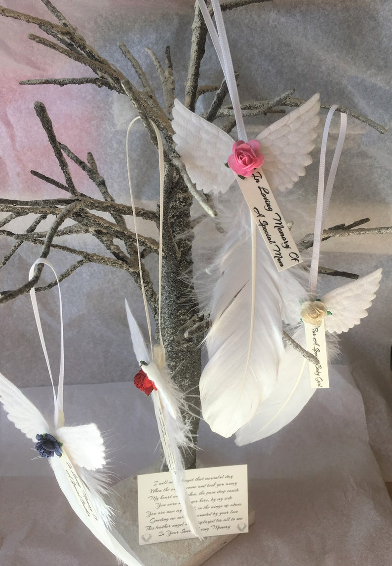 Christmas Tree Decorations Feather Angel Wings Personalised In Loving Memory Of Mum Dad Brother Sister Son Daughter