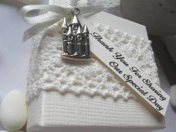 10cm Boda Favores escocés-Tartán Cinta /& Diamante-caja vacía o llena