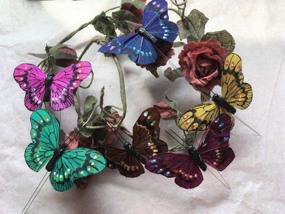 Dark Gold Feather Butterfly with Glitter 7.0cm wingspan