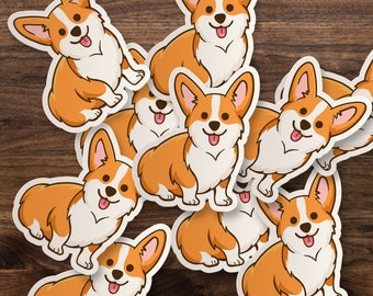 100Pcs//Set Cute Corgi Stickers Dog PVC Waterproof Skateboard Car DIY Decals  Ho/_