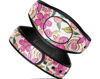 Magic Band Decal for Disney Magic Bands Preppy Peach Flowers MagicBand 2 Skin Fits Both Adult and Child Bands