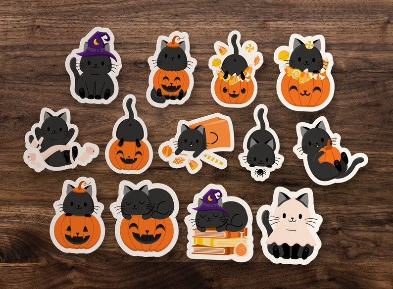 13 Halloween Kitty Stickers // Cute Kitten Sticker Set // Fall image 0
