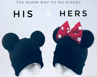 Warm Minnie Beanie! and Mickey Mouse Beanie With Ears| Winter Hat | Couple Beanie