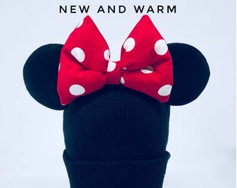 TODDLER Warm Minnie Beanie! and Mickey Mouse Beanie With Ears| Winter Hat | Couple Beanie