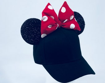 347259fe00a48 Ready to Ship JUNIOR Minnie Mouse Ears Baseball Cap!