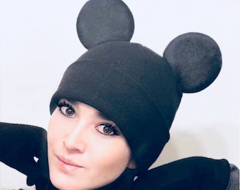 Warm Beanie! Minnie and Mickey Mouse Beanie With Ears| Winter Hat | Couple Beanie