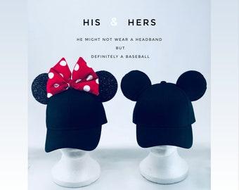 fb32fa906e6 Minnie and Mickey Mouse Baseball Hats With Ears