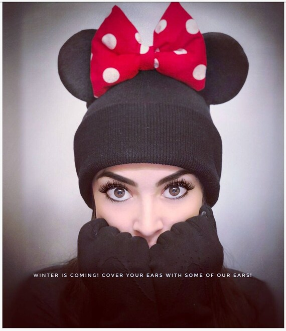 d9bb682e38aaa Warm Minnie Beanie and Mickey Mouse Beanie With Ears Winter