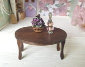 Miniature Dollhouse Wood Table Drop Leaf Round Table Furniture Dining Room Kitchen Table 1 12 Scale FS