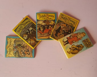 Sale ~~ Set Five Miniature Dollhouse Teddy Bear Books by Merrimack Publishing NIB Children's Nursery Storybooks 1:12 Scale FS