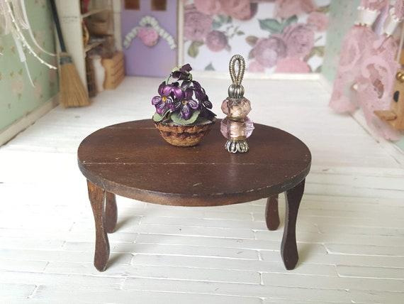 Mini Natural Wood End Table Tea Table Furniture 1:12 Dollhouse Accessories