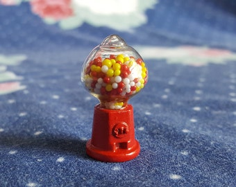 Miniature Dollhouse Gumball Machine Red Metal with Glass Globe Candy Dispenser 1:12 Scale FS