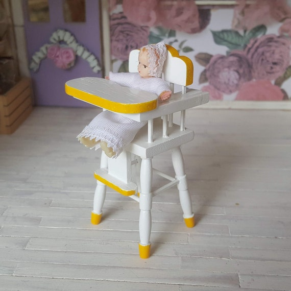 Remarkable Miniature Dollhouse High Chair White And Yellow Wood Highchair For Baby Kitchen Furniture 1 12 Scale Fs Gmtry Best Dining Table And Chair Ideas Images Gmtryco
