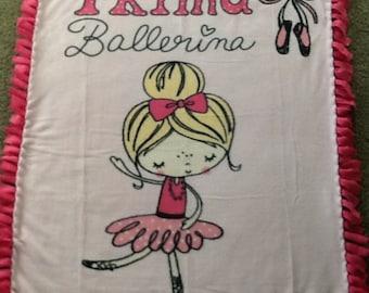 Prima ballerina pink fleece tie blanket, reversible blanket, dance blanket