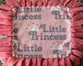 Little princess fleece tag tie blanket, reversible tag tie blanket, nursery blanket
