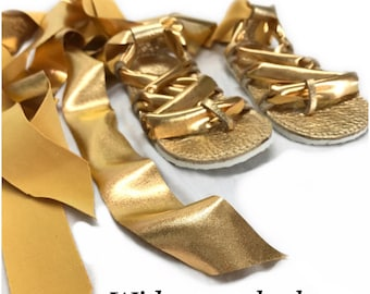 Gold Gladiators Sandals made from genuine leather, baby moccasins, Mary Janes baby girl sandals with wide laces
