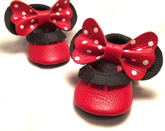 Red bow white polka dot Genuine Leather Baby Bow Mary Janes Shoes embroidery name / message / DOB
