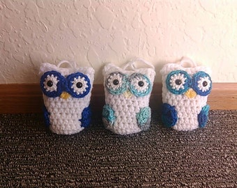 Crocheted Blue Christmas Owl Ornaments - set of 3