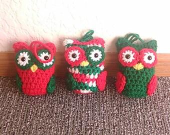 Crocheted Christmas Owl Ornaments - set of 3