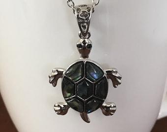 Abalone turtle pendant, abalone pendant, abalone necklace, turtle pendant, turtle necklace, abalone animal pendant, abalone animal necklace