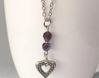 Heart necklace, purple necklace, pendant necklace, purple bead necklace, charm necklace, chain necklace, purple beaded necklace