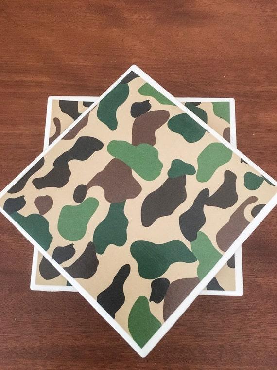 Camouflage Tile Coasters Camo Coasters Ceramic Tile Etsy