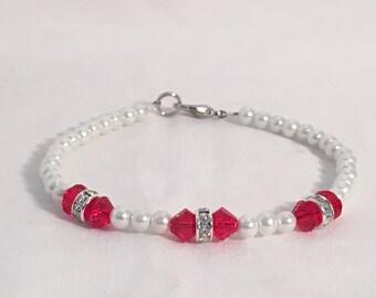 July birthstone bracelet, ruby birthstone bracelet, red bracelet, swarovski crystal bracelet, red beaded bracelet, pearl bracelet
