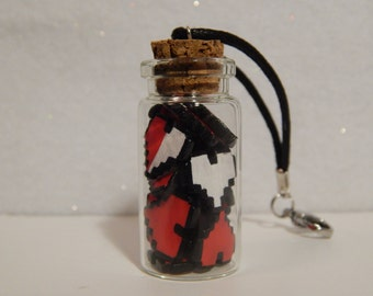 Video Game Jar Of Pixel Hearts, Polymer Clay Glass Bottle Of Miniature Pixel Hearts