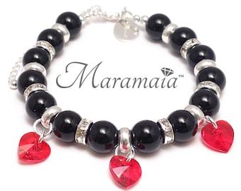 Black Onyx and Swarovski Sterling Silver Bracelet, Valentines Bracelet,  Gifts for her, mothers day bracelet