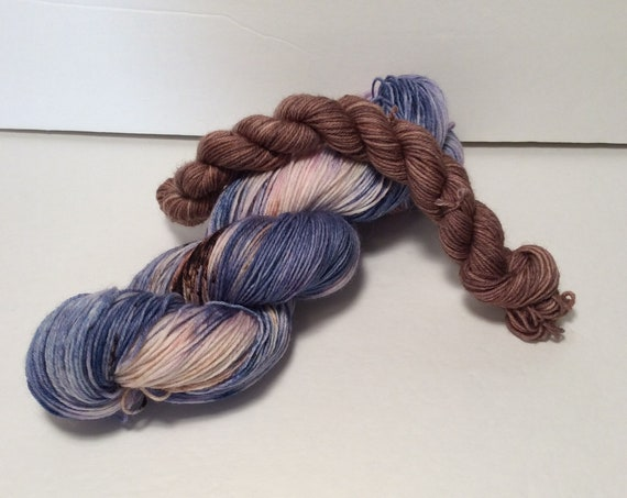 Sock Set, blue yarn, brown yarn, wool nylon yarn, wool yarn, sock yarn, fingering yarn, sock knitting, yarn, hand dyed yarn