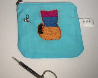 Embroidered Kitty Pouch