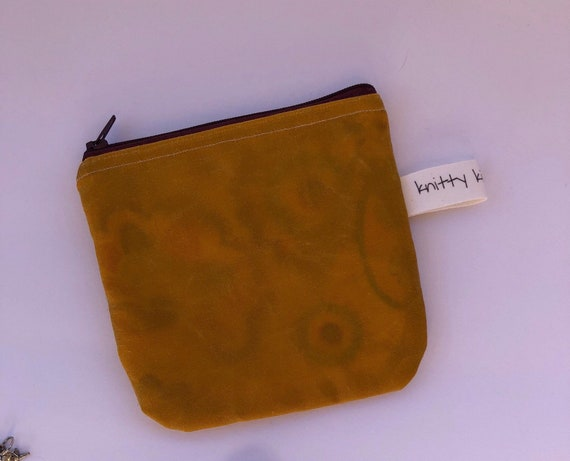 Notion Pouch, waxed canvas pouch, coin pouch, fabric pouch