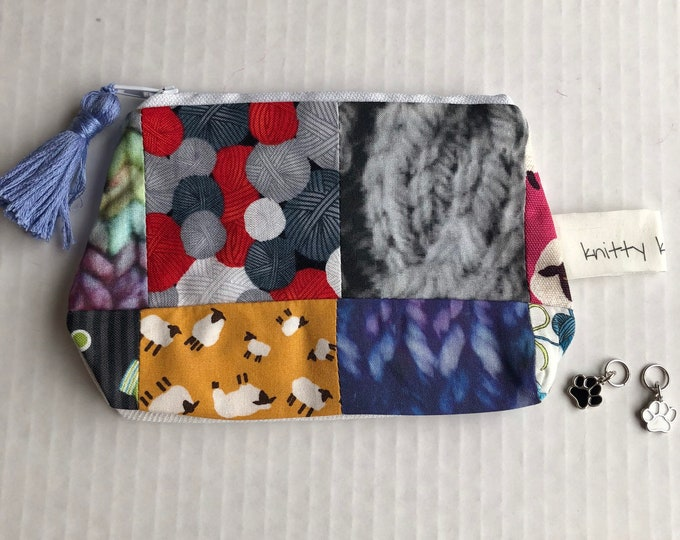 Zippered Pouch, Scrappy Pouch, Notion Pouch, Pouch, Scissor Pouch, Knitter Gift, Crochet Gift, Scrappy Notion Pouch