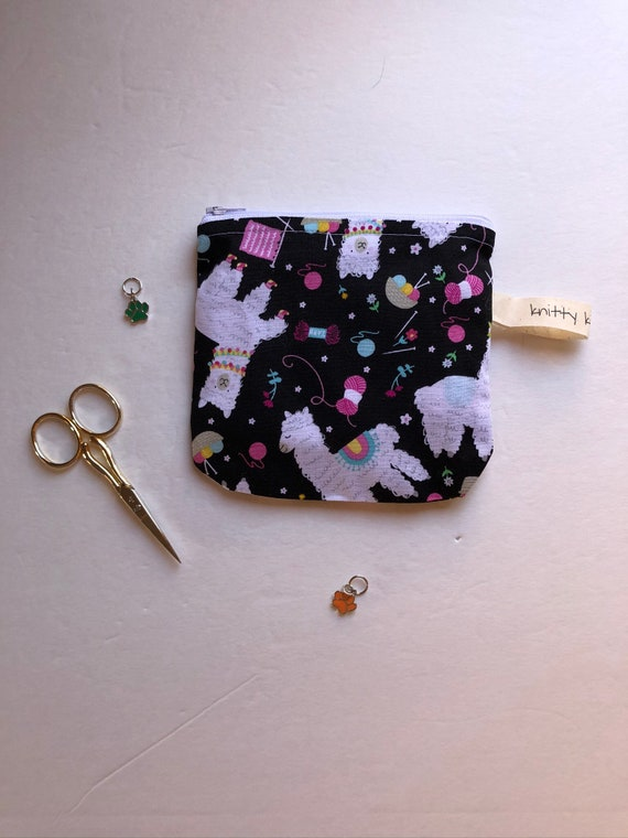 Notion Pouch, knitter gift, gift for knitter, scissor pouch, fabric pouch, zipper pouch, needle pouch, coin pouch, pouch