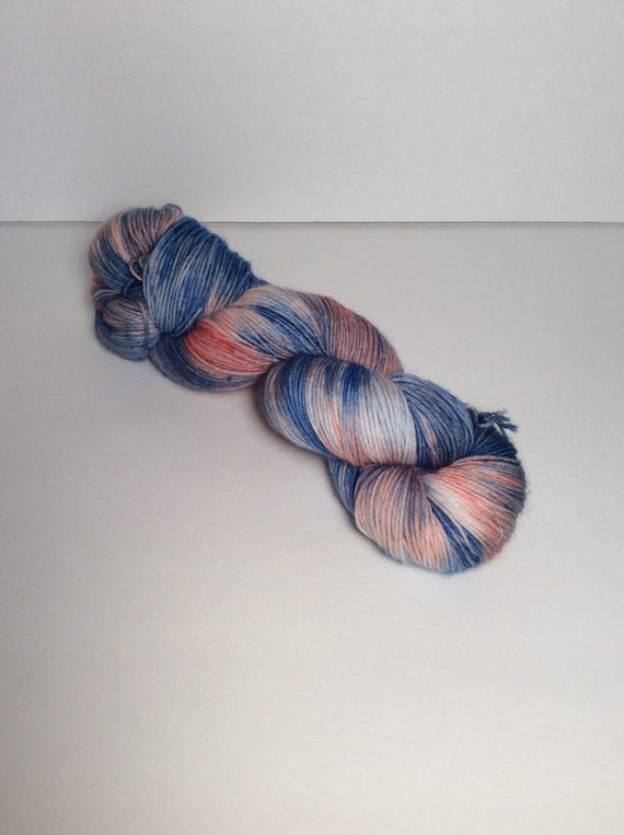 Hand Dyed Fingering Yarn, blue yarn, yarn, sock yarn, shawl yarn, sweater yarn, hand dyed yarn, wool yarn, wool nylon yarn