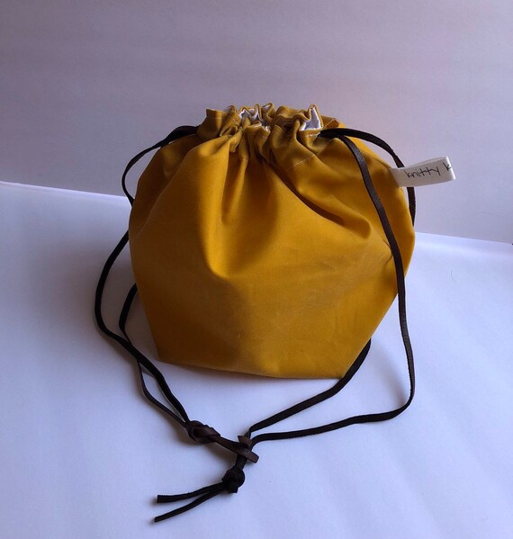 Drawstring Project Bag, waxed canvas bag, yarn bag, knitting bag, drawstring bag, sock knitting bag, knitting, gift for knitter, canvas bag