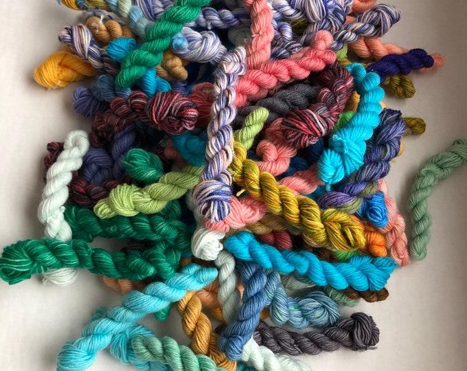 Featured listing image: Mini Skeins, wool yarn, wool nylon yarn, fingering tartan, mini skeins, sock blanket yarn, sock blanket, scrappy knitting, hand dyed minis