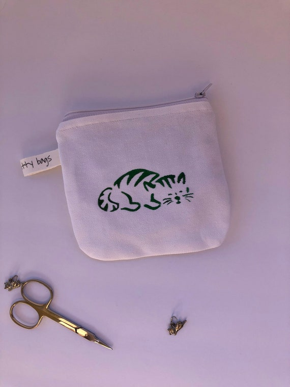 Notion Pouch, fabric pouch, coin pouch, cat pouch, canvas pouch