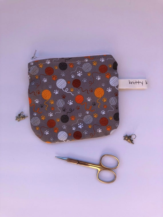 Notion Pouch, knitter gift, gift for knitter, cat lover gift, cat lover stocking stuffer, scissor pouch, needle pouch, coin pouch,
