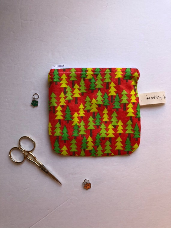 Notion Pouch, holiday fabric pouch, knitter gift, gift for knitters, gift for crocheter, zipper pouch, stitch marker pouch, scissor pouch