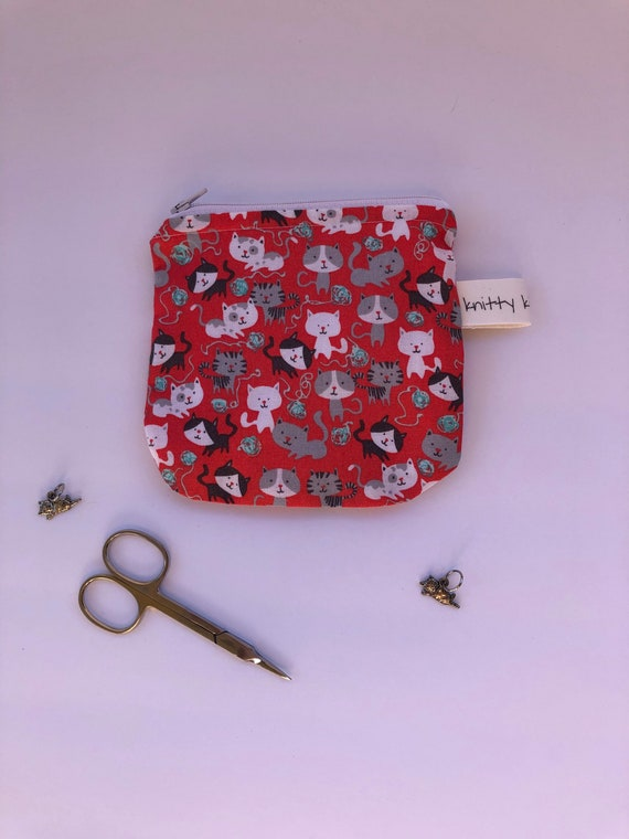 Notion Pouch, fabric pouch, cat pouch, cat fabric pouch, coin pouch